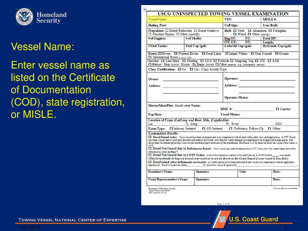 Uninspected Towing Vessel Utv Exam Form Instructions Ppt Download