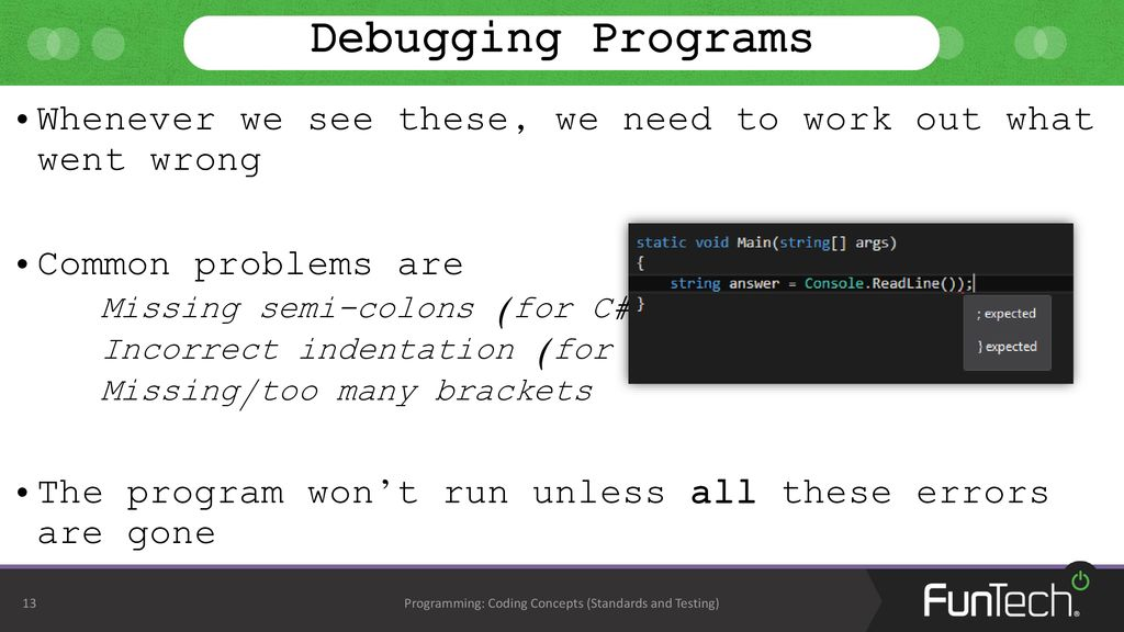 Coding Concepts (Standards and Testing) - ppt download