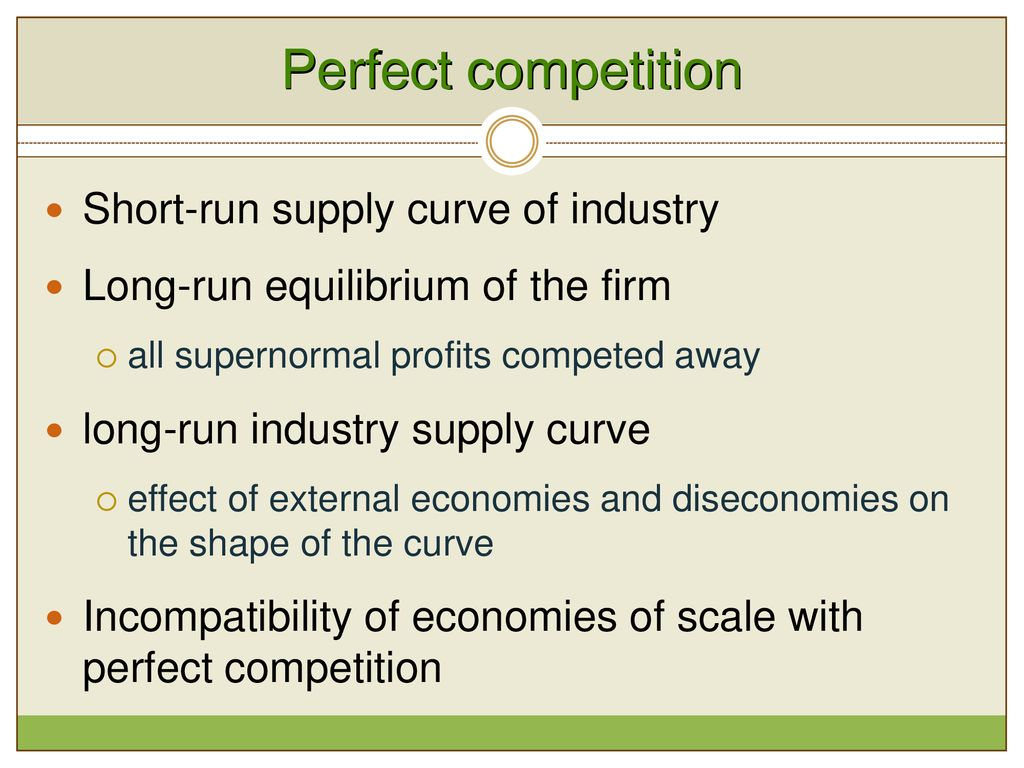 Perfect Competition Short Run Equilibrium Supernormal Profits