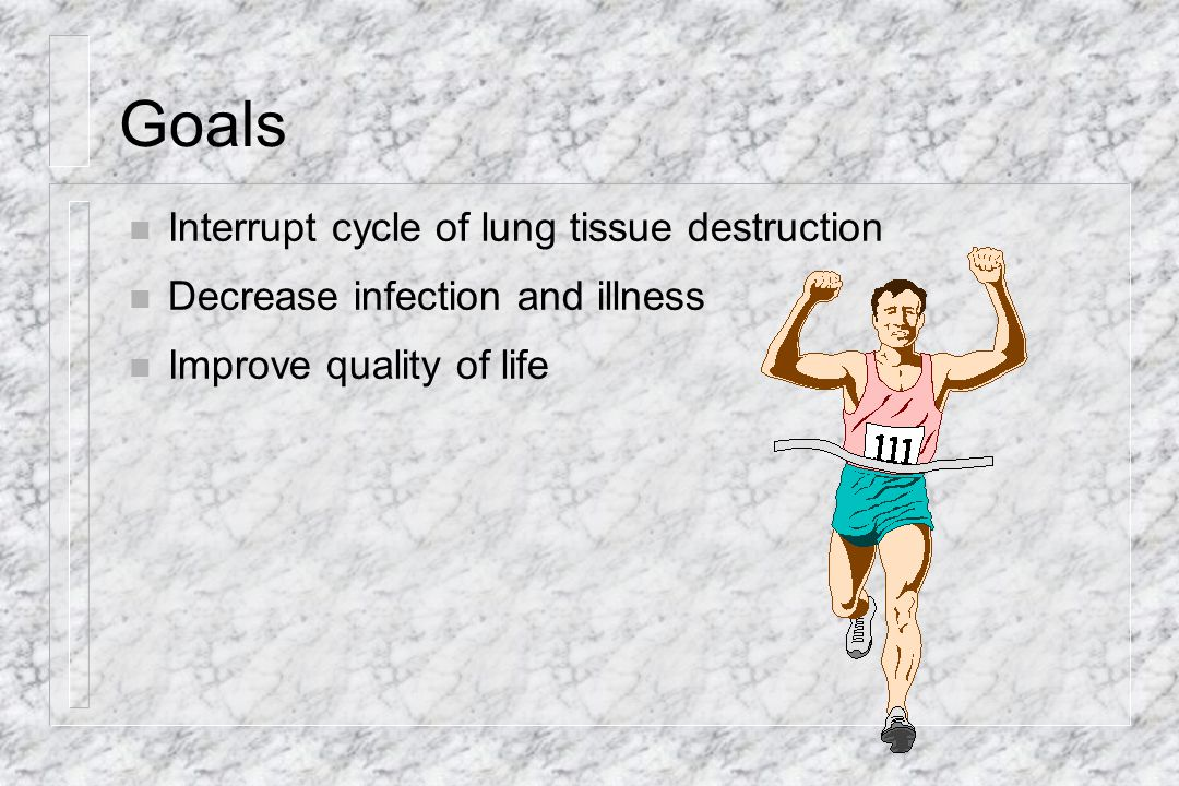 Goals Interrupt cycle of lung tissue destruction