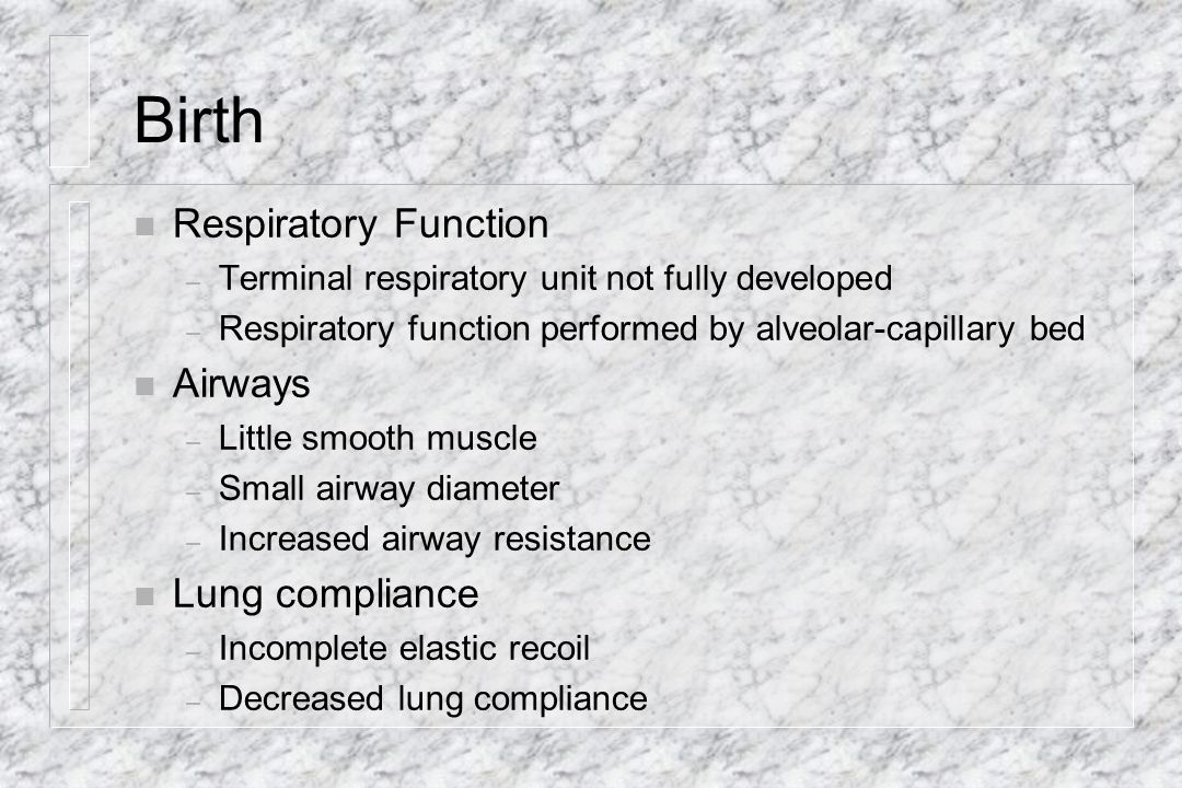 Birth Respiratory Function Airways Lung compliance