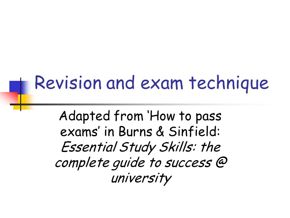 Revision and exam technique