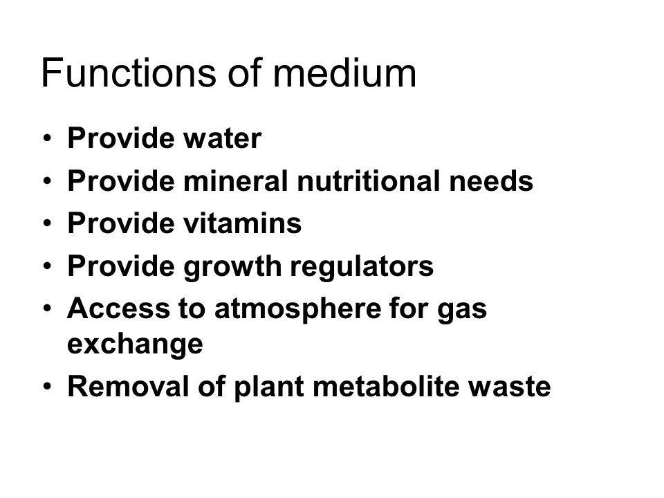 Functions of medium Provide water Provide mineral nutritional needs