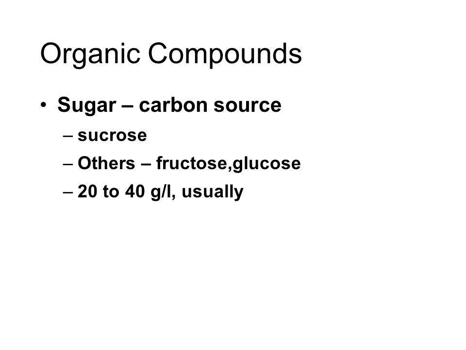 Organic Compounds Sugar – carbon source sucrose