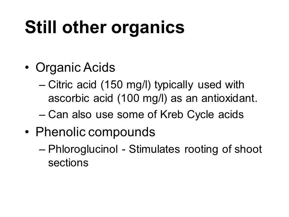 Still other organics Organic Acids Phenolic compounds