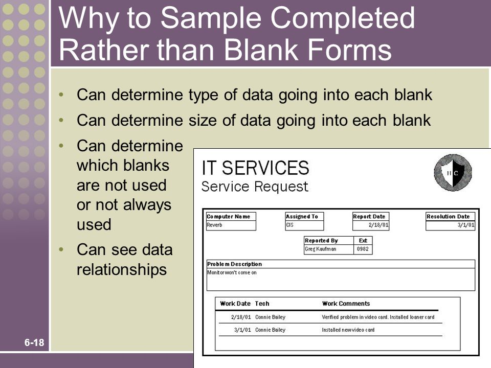 Why to Sample Completed Rather than Blank Forms