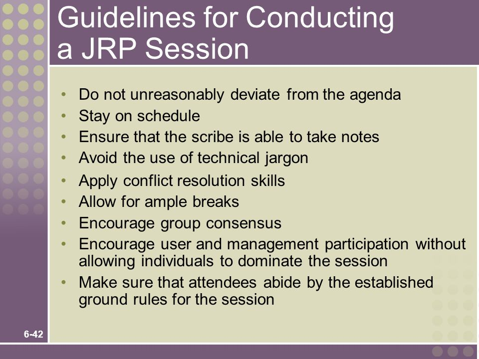 Guidelines for Conducting a JRP Session