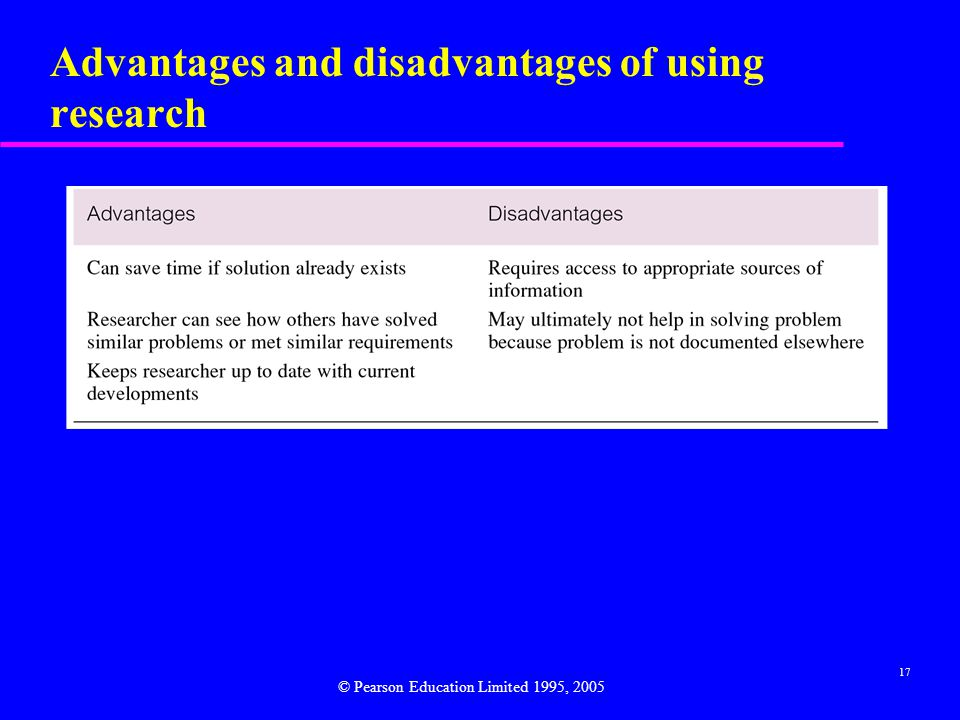 Advantages and disadvantages of using research