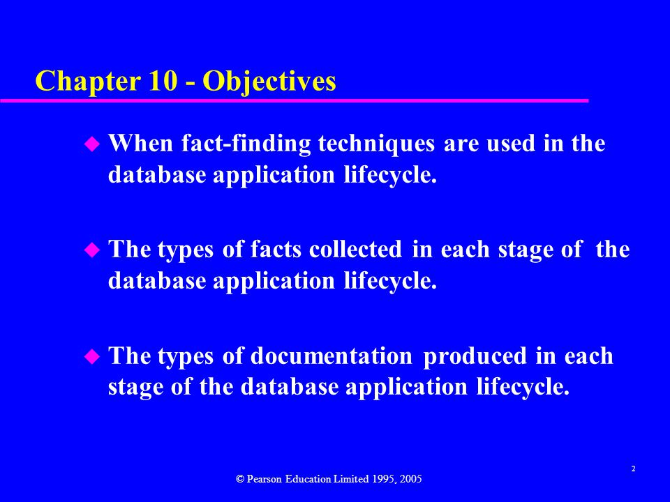 Chapter 10 - Objectives When fact-finding techniques are used in the database application lifecycle.