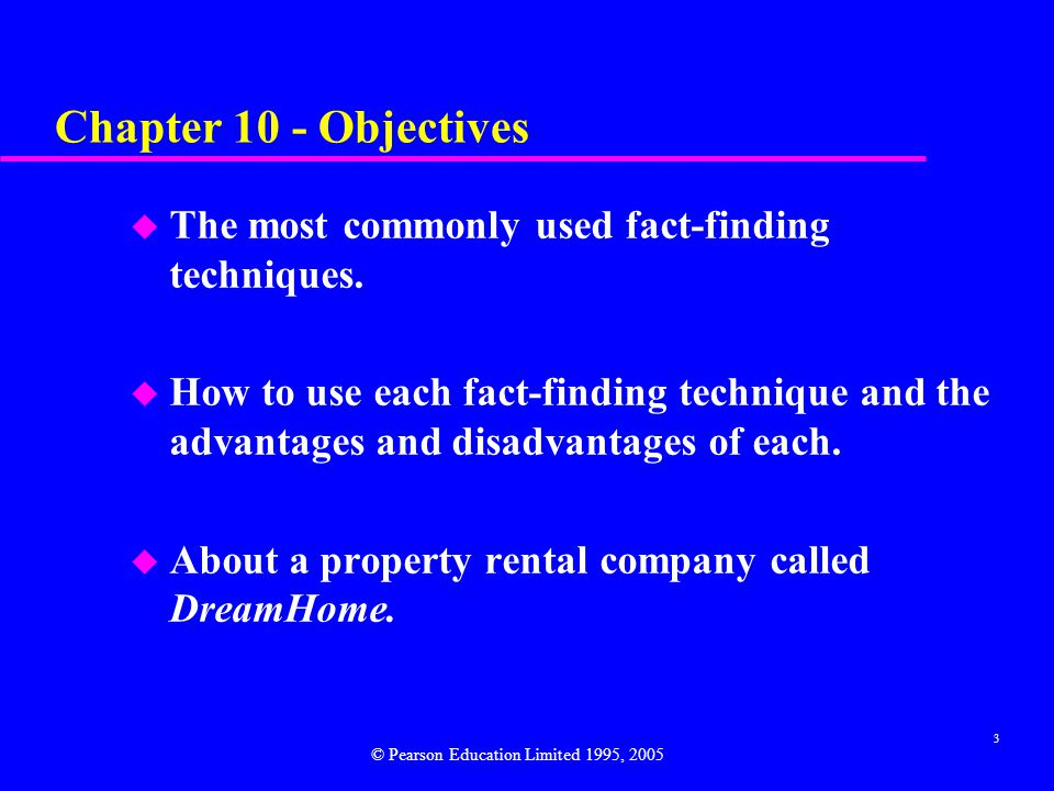 Chapter 10 - Objectives The most commonly used fact-finding techniques.