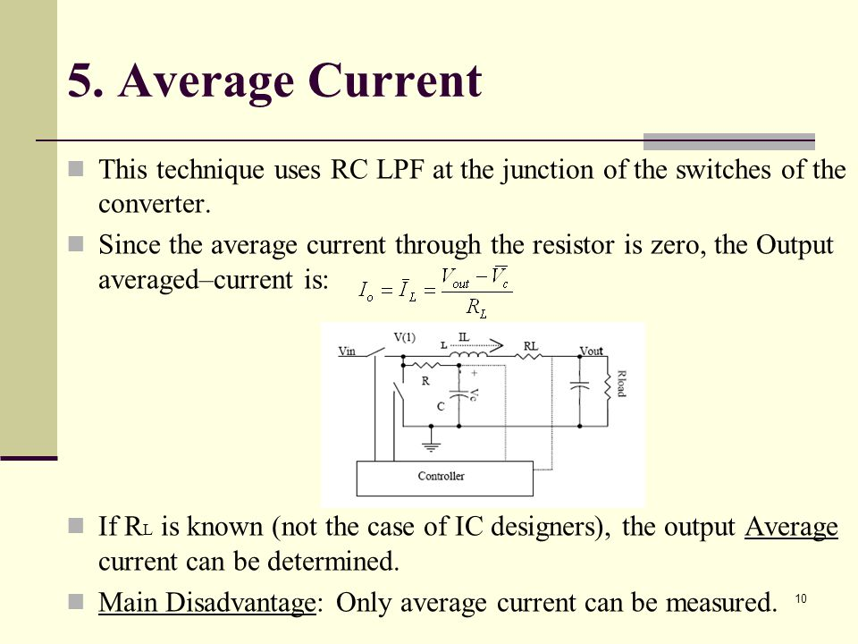 5. Average Current This technique uses RC LPF at the junction of the switches of the converter.