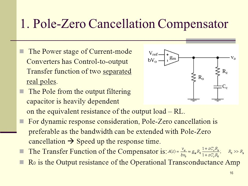 1. Pole-Zero Cancellation Compensator