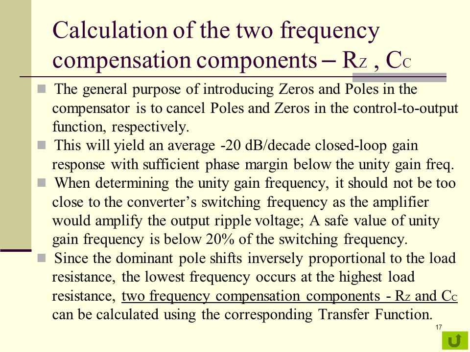 Calculation of the two frequency compensation components – RZ , CC
