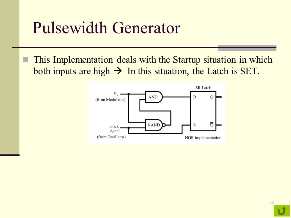 Pulsewidth Generator This Implementation deals with the Startup situation in which both inputs are high  In this situation, the Latch is SET.