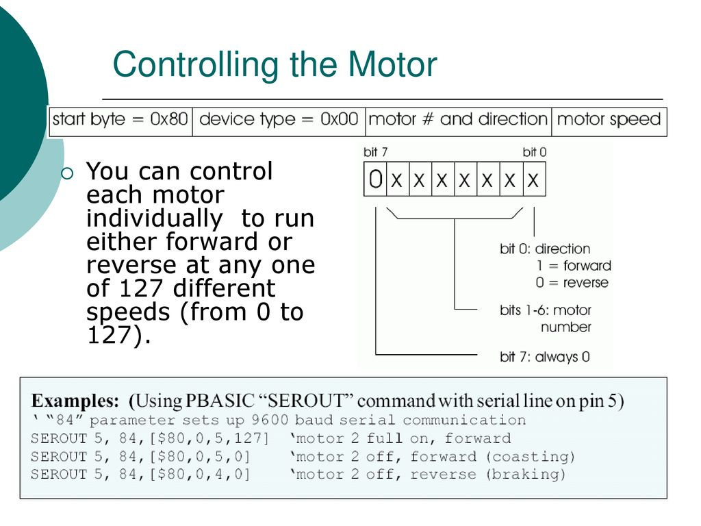 Pololu Dc Motor Controller Ppt Download The Series Pwm With Forward And Reverse Above Can 9 Controlling You Control Each Individually To Run Either Or At Any One Of 127 Different Speeds From 0