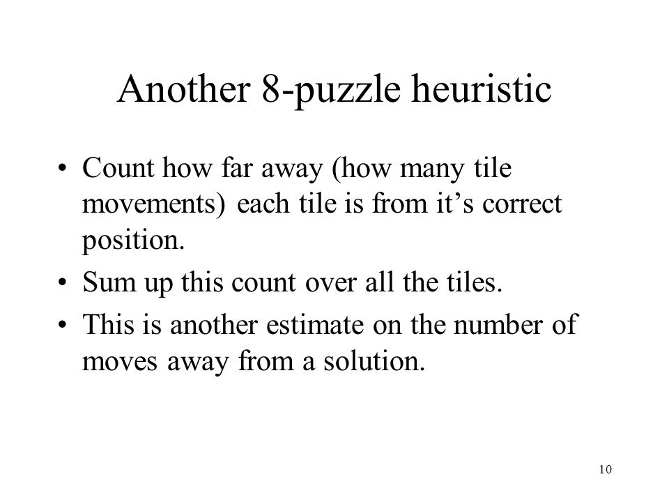 Another 8-puzzle heuristic