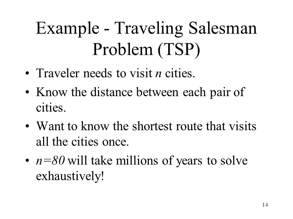Example - Traveling Salesman Problem (TSP)