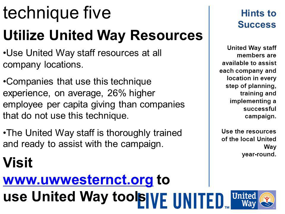 technique five Utilize United Way Resources