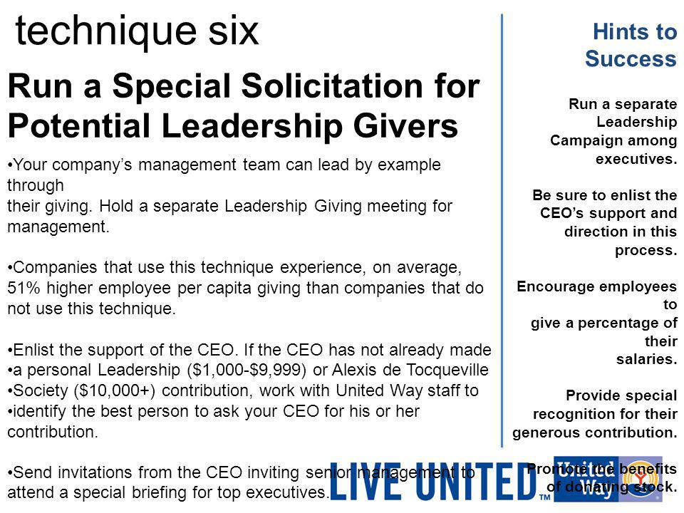 technique six Hints to Success. Run a Special Solicitation for Potential Leadership Givers. Run a separate Leadership.