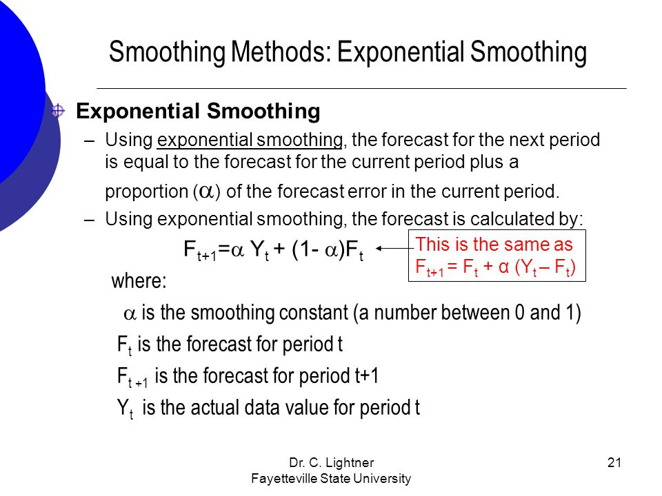 Smoothing Methods: Exponential Smoothing