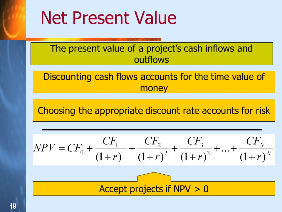 Net Present Value The present value of a project's cash inflows and outflows. Discounting cash flows accounts for the time value of money.