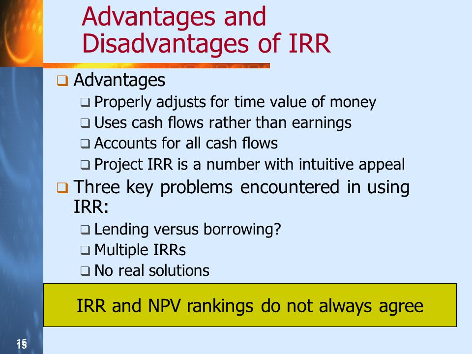 Advantages and Disadvantages of IRR