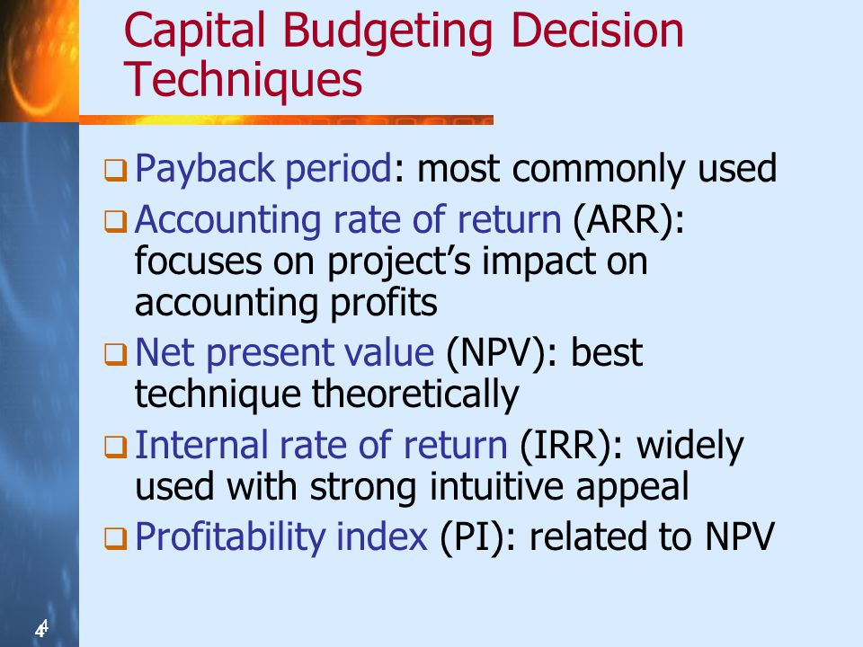 Capital Budgeting Decision Techniques