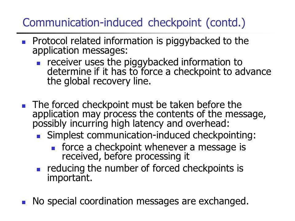 Communication-induced checkpoint (contd.)