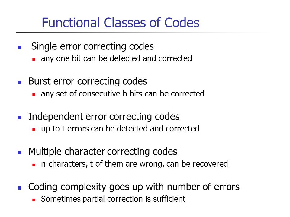 Functional Classes of Codes