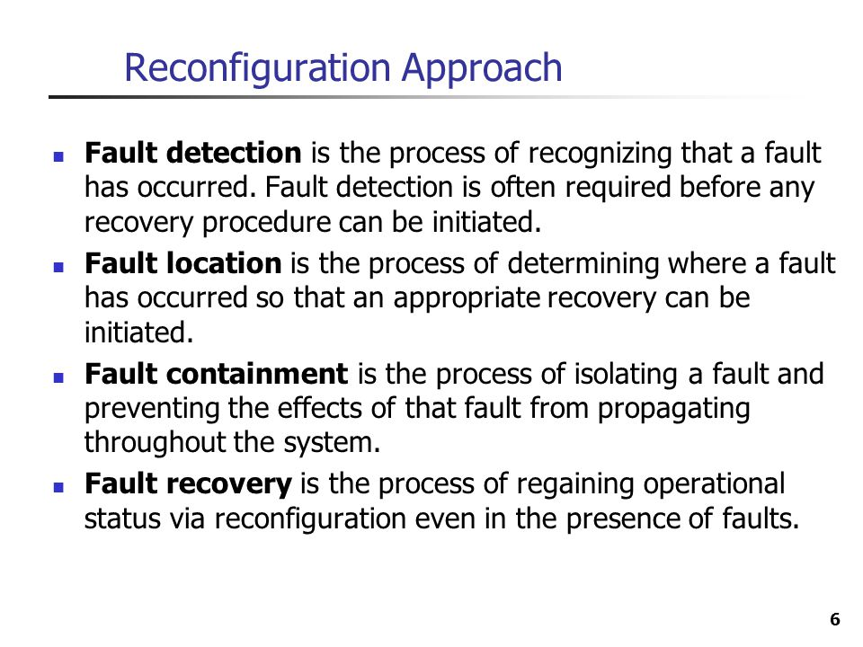 Reconfiguration Approach