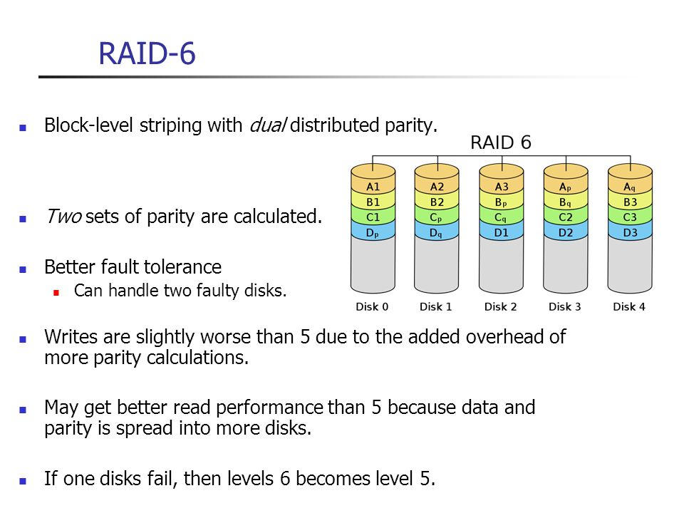 RAID-6 Block-level striping with dual distributed parity.