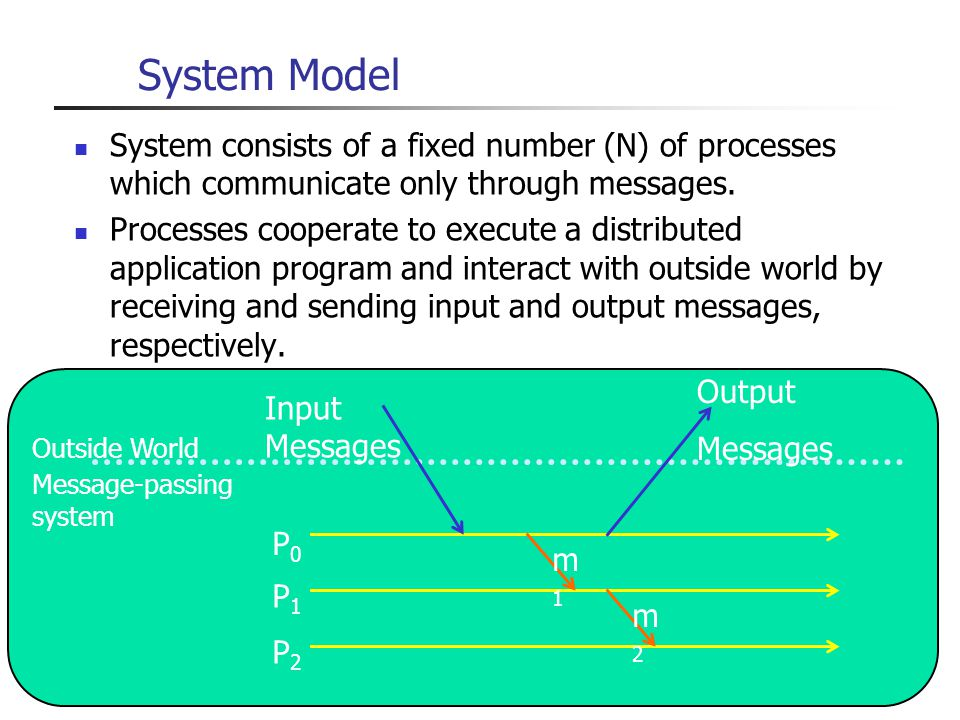 System Model System consists of a fixed number (N) of processes which communicate only through messages.