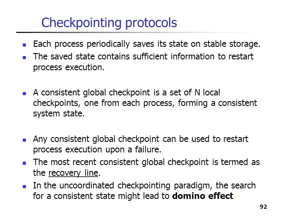 Checkpointing protocols