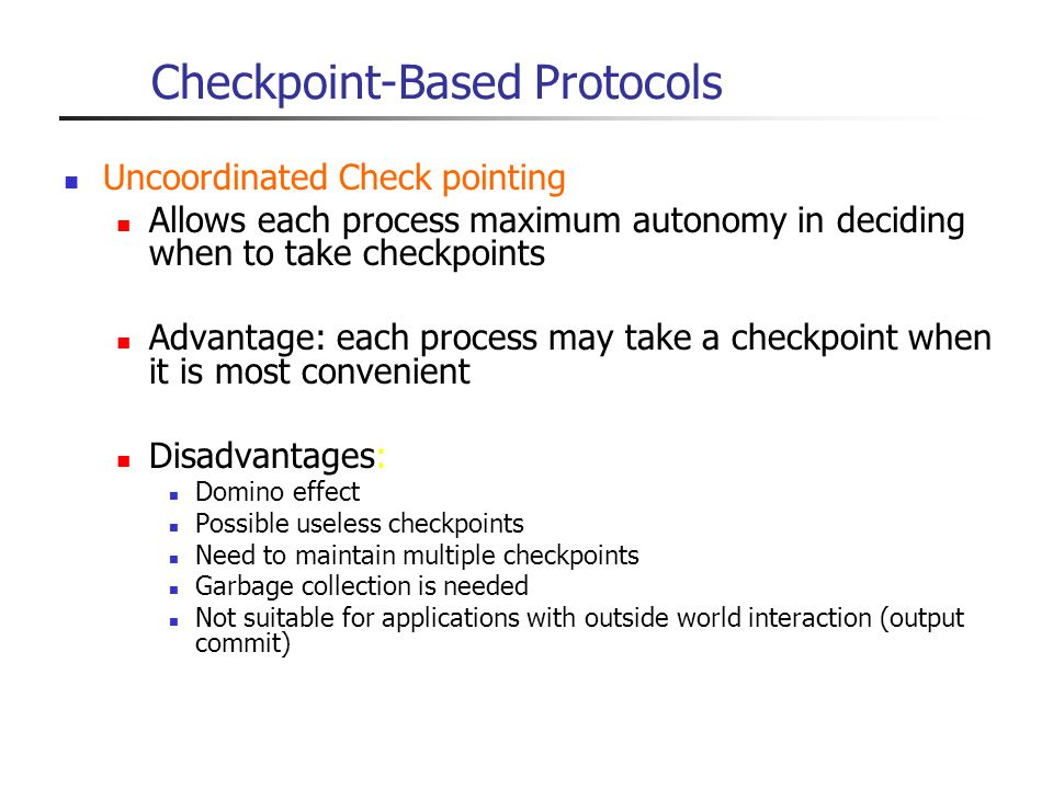 Checkpoint-Based Protocols