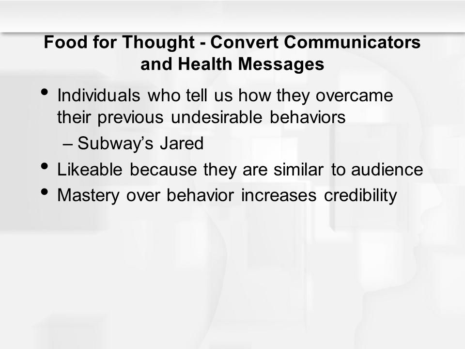 Food for Thought - Convert Communicators and Health Messages