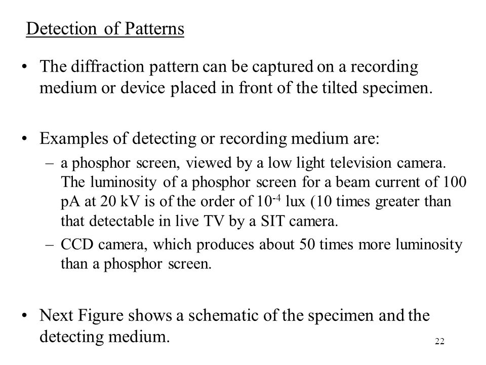 Detection of Patterns The diffraction pattern can be captured on a recording medium or device placed in front of the tilted specimen.