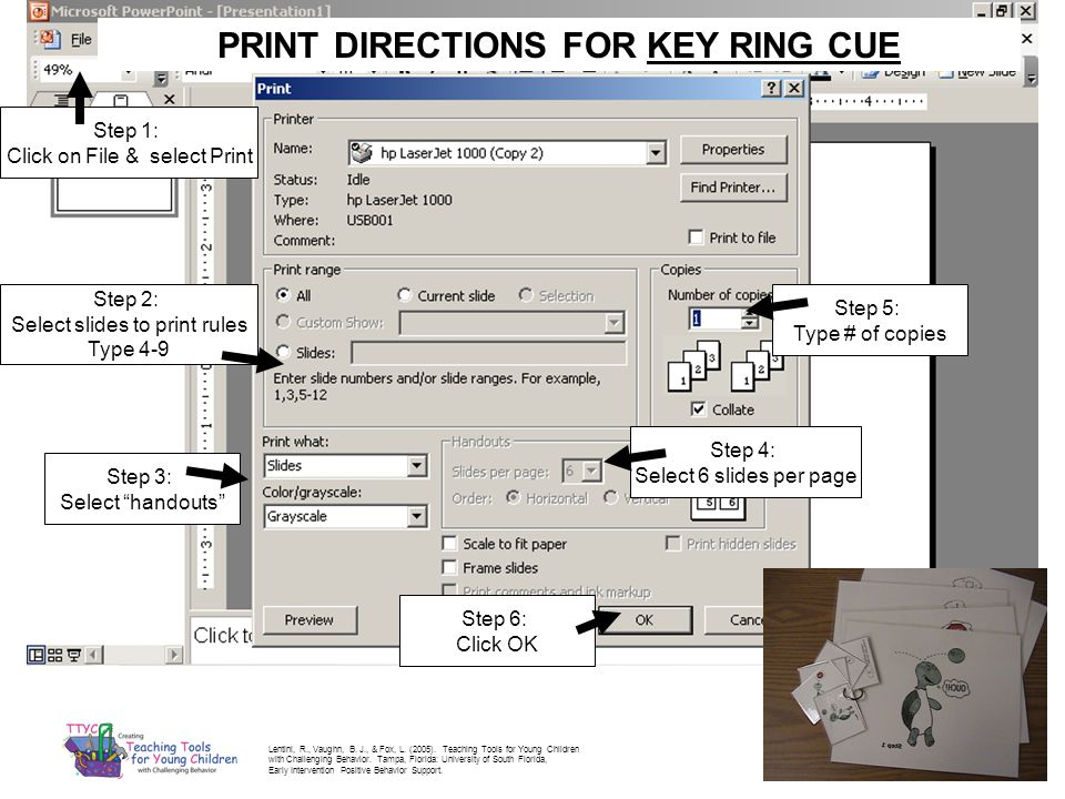 PRINT DIRECTIONS FOR KEY RING CUE
