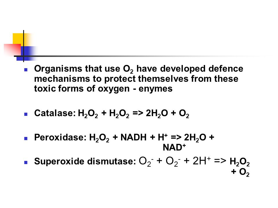 Organisms that use O2 have developed defence mechanisms to protect themselves from these toxic forms of oxygen - enymes