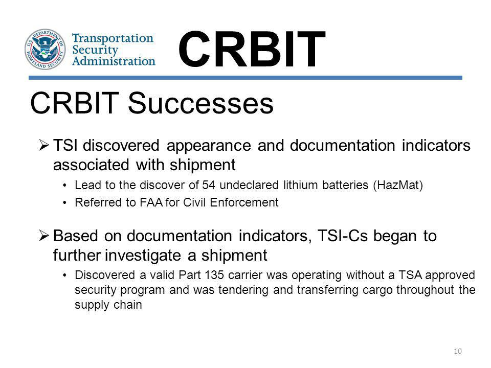 CRBIT CRBIT Successes. TSI discovered appearance and documentation indicators associated with shipment.