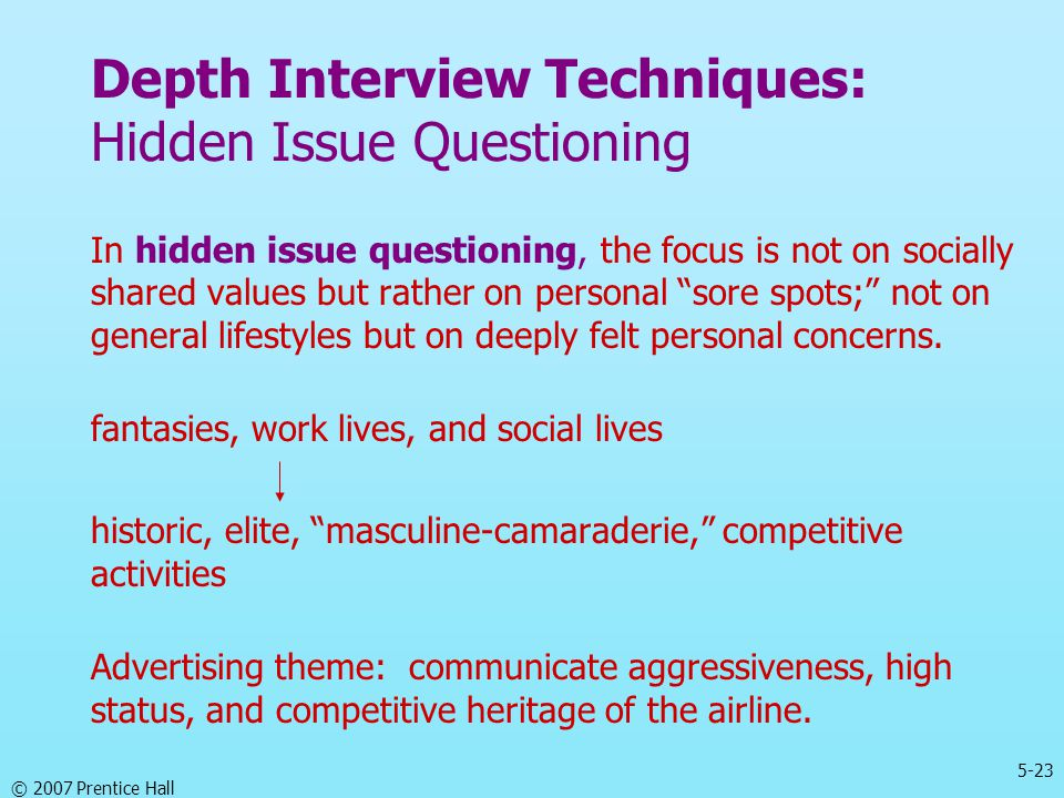 Depth Interview Techniques: Hidden Issue Questioning