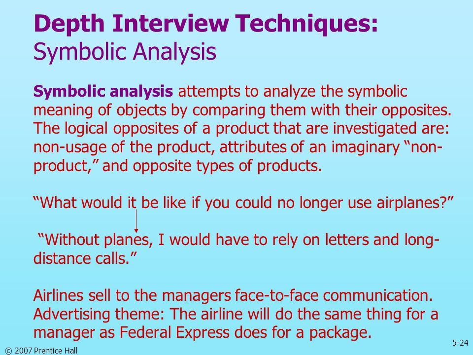 Depth Interview Techniques: Symbolic Analysis