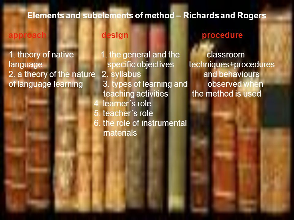 Elements and subelements of method – Richards and Rogers