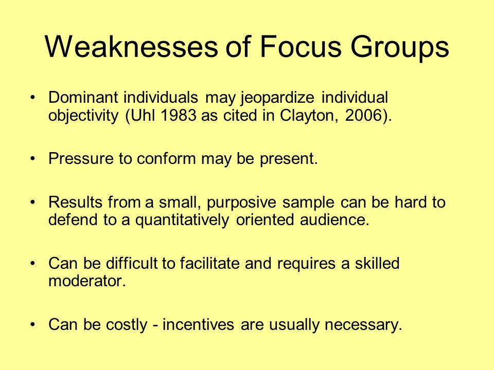 Weaknesses of Focus Groups