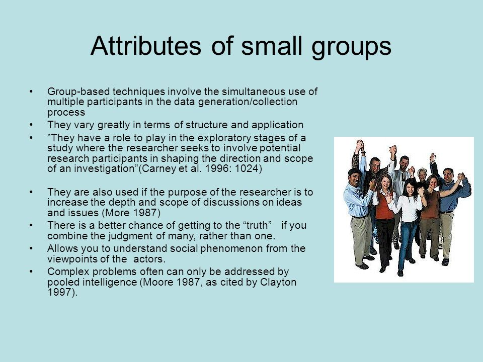 Attributes of small groups