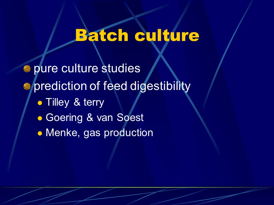 Batch culture pure culture studies prediction of feed digestibility