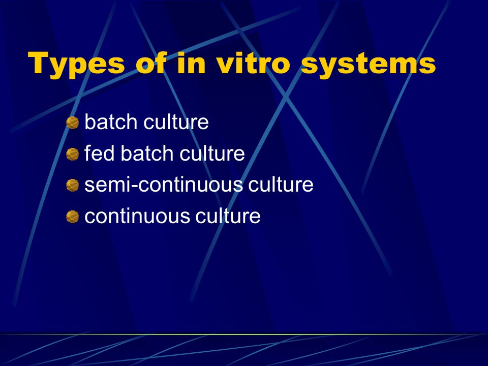 Types of in vitro systems