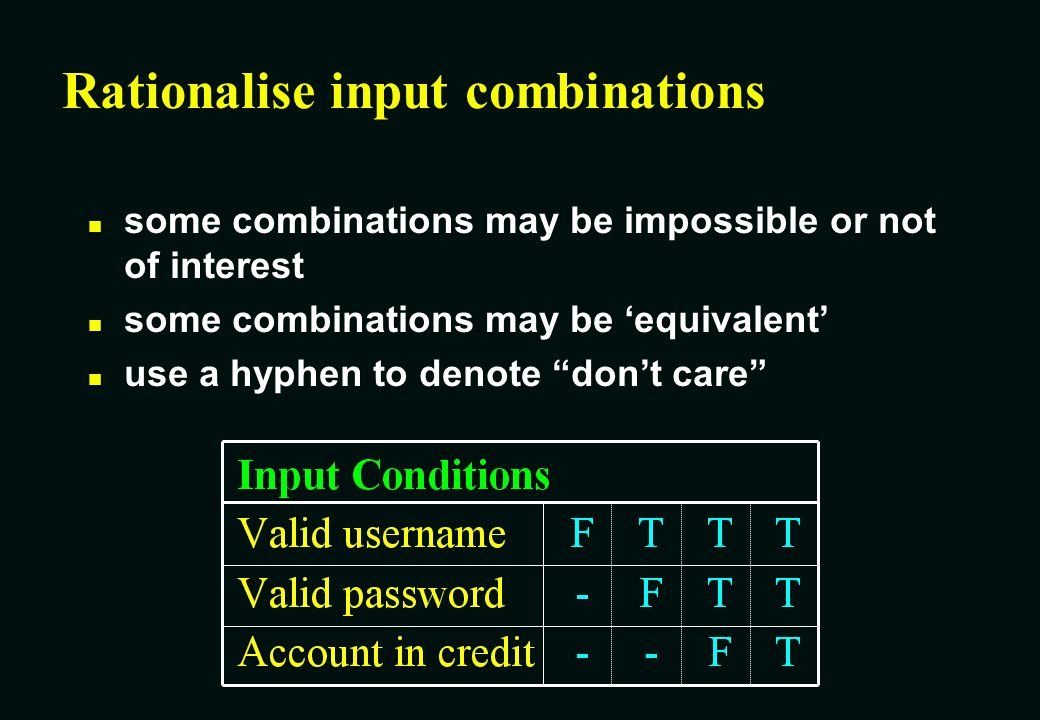 Rationalise input combinations