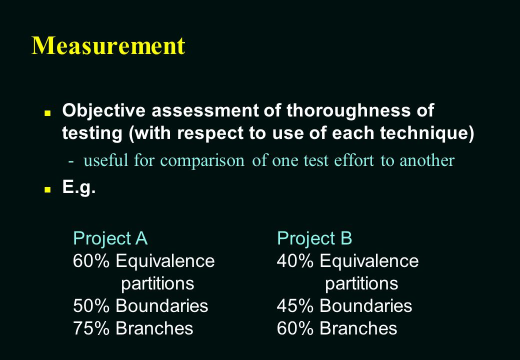 Measurement Objective assessment of thoroughness of testing (with respect to use of each technique)