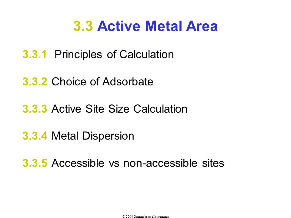 3.3 Active Metal Area 3.3.1 Principles of Calculation