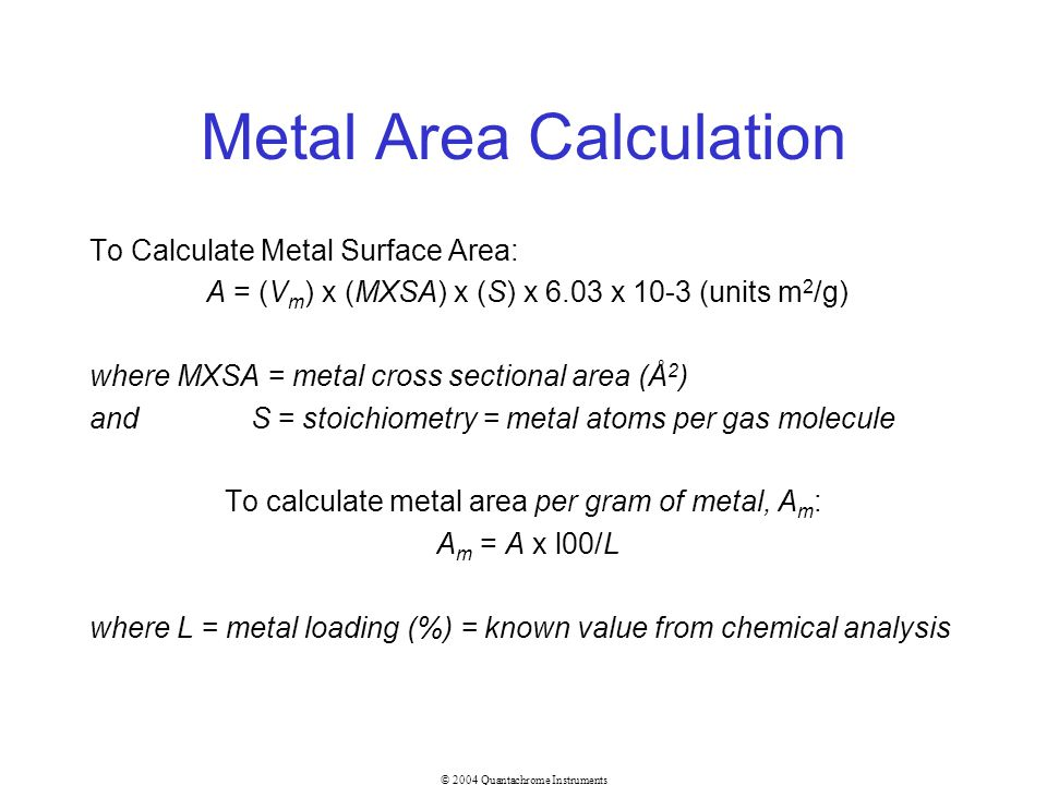 Metal Area Calculation